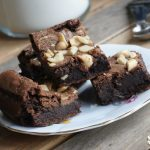 Peanut butter brownies on a plate